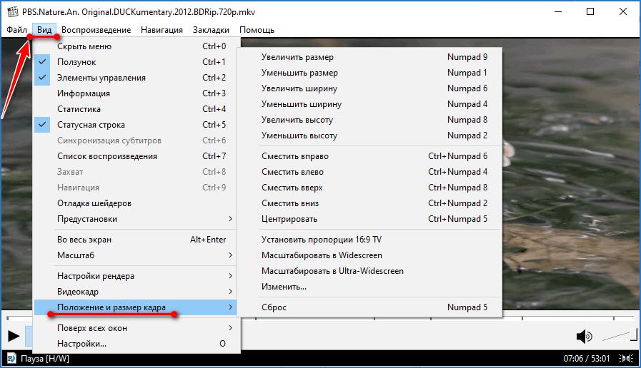 Положение кадра Media Player Classic