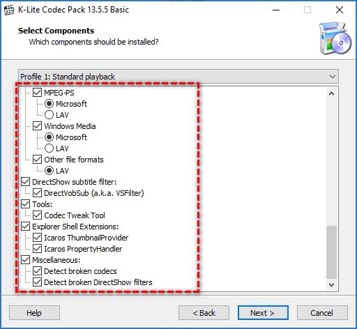 Состав пакета Media Player Classic