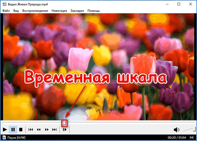 Временная шкала в Media Player Classic